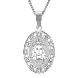 PEF0070S BOBIJOO Jewelry Saint Sara Medal Silver Diamonds Saintes Maries de la Mer