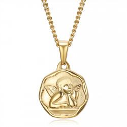 PE0338 BOBIJOO Jewelry Medalla del ángel de la guarda Bautismo de acero de 18 mm con cadena de oro