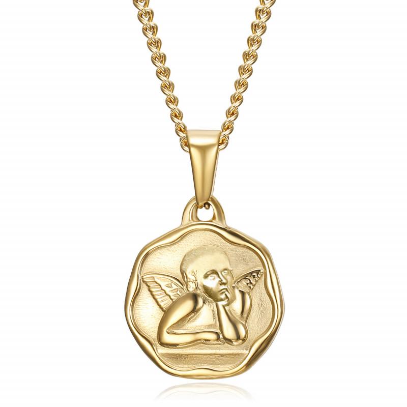 Médaille ange gardien Baptême 18mm Acier Or Chaîne bobijoo