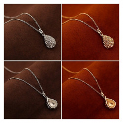 PEF0005 BOBIJOO Jewelry Pendant Water Drop Chain Rhinestone Color: Gold or Silver