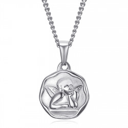 PE0338S BOBIJOO Jewelry Medalla del ángel de la guarda Bautismo Cadena de acero de 18 mm