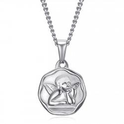PE0338S BOBIJOO Jewelry Schutzengel-Medaille Taufe 18mm Stahlkette