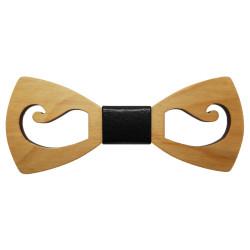 NP0018 BOBIJOO Jewelry Papillon in legno con baffi Acero traforato