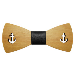 NP0019 BOBIJOO Jewelry Fliege Holzanker Ahornleder Navy
