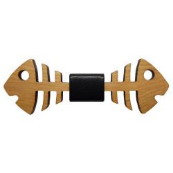 NP0022 BOBIJOO Jewelry Papillon in legno doppio pesce acero