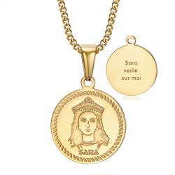 PEF0071 BOBIJOO Jewelry Medalla de bautismo Sara vela por mí Gypsy Steel Gold