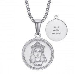 Médaille baptême Sara veille sur moi Gitan Acier Argent bobijoo