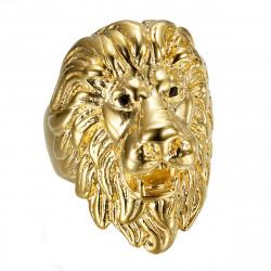 BA0402 BOBIJOO Jewelry Anello testa di leone: occhi in oro e diamanti neri, gioiello enorme