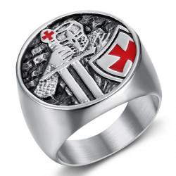BA0403 BOBIJOO Jewelry Temple Warrior Knight Ring, Edelstahl