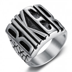 BA0401 BOBIJOO Jewelry Men's biker ring, inscription BIKER, Stainless steel
