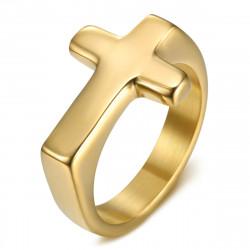 BA0405 BOBIJOO Jewelry Anello Croce Uomo Donna Bambino Acciaio e Oro