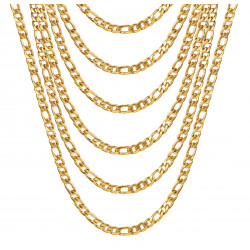 PE0011 BOBIJOO Jewelry Figaro chain Stainless steel Gold 5 mm