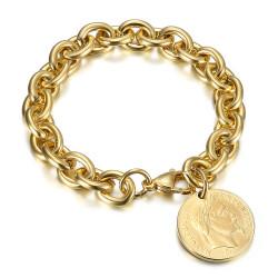 BR0296 BOBIJOO Jewelry Bracciale con ciondoli a maglia alternata in stile Tiffany Napoleone Oro