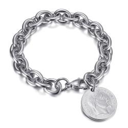 BR0296S BOBIJOO Jewelry Tiffany Napoleon style alternating mesh charm bracelet Silver