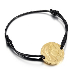 BR0297 BOBIJOO Jewelry Napoleon cord bracelet man woman Steel Gold