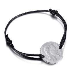 BR0297S BOBIJOO Jewelry Bracciale cordone Napoleone uomo donna Acciaio Argento