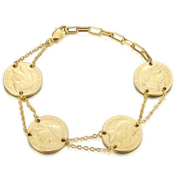 Bracelet louis d'or 4 pièces Napoléon Or bobijoo