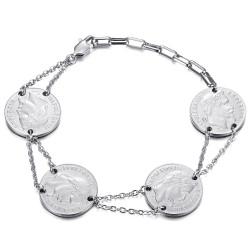 Bracelet louis d'or 4 pièces Napoléon Argent bobijoo