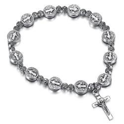Bracelet Saint Benoît Médaille Croix Christ Métal argenté bobijoo