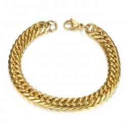 BR0173 BOBIJOO Jewelry Bracciale grumetta oro Uomo Acciaio 9mm