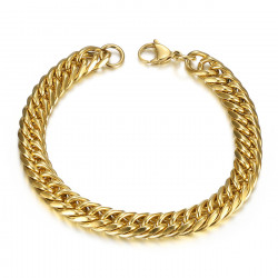 BR0173 BOBIJOO Jewelry Pulsera bordillo de oro Hombre Acero inoxidable 9mm