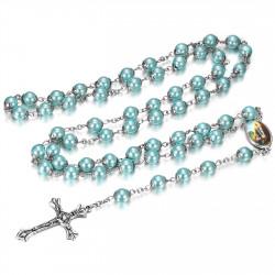 Chapelet Lourdes Prière Rosaire Dizainier Perle Bleu bobijoo