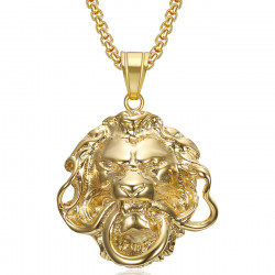 Ciondolo leone in oro Anello a bocca Steel bobijoo