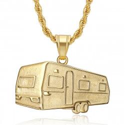 PE0342 BOBIJOO Jewelry Anhänger Anhänger Camping Caravan Verdine Stahl Gold