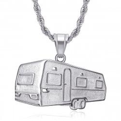 Pendentif roulotte Camping Caravane Verdine Acier Argent bobijoo