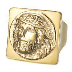 BA0406 BOBIJOO Jewelry Quadratischer Jesus Ring Siegelring Christus Edelstahl Gold