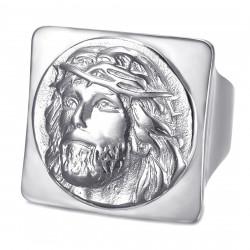 BA0406S BOBIJOO Jewelry Quadratischer Jesus Ring Siegelring Christus Edelstahl Silber