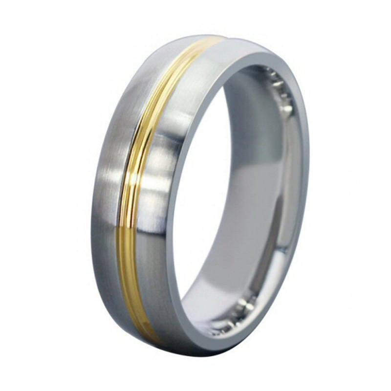 AL0021 BOBIJOO Jewelry Alianza Anillo De Alambre De Acero Inoxidable De Oro Final Mixta