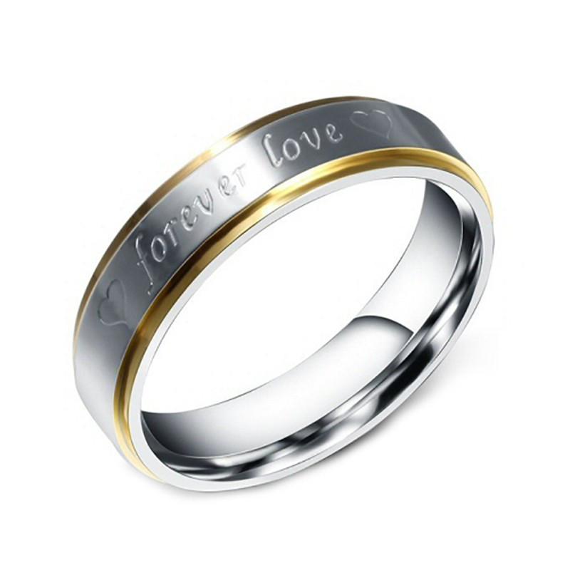AL0022 BOBIJOO Jewelry Allianz-Stahl-Silber-Draht Vergoldet, Gold Mixed-Forever Love