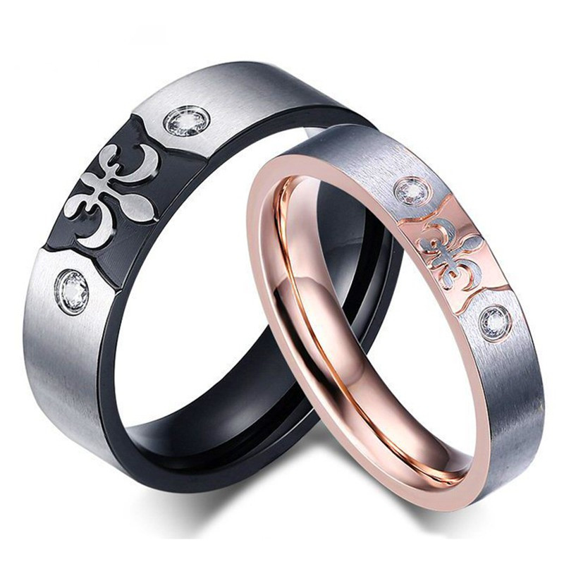 AL0007 BOBIJOO Jewelry Alliance Ring Ring Rose Gold Black Fleur-de-Lys