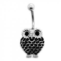 PIP0010 BOBIJOO Jewelry Piercing Ombelico In Acciaio Chirurgico Strass Gufo