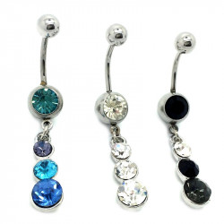 PIP0011 BOBIJOO Jewelry Piercing Ombelico In Acciaio Chirurgico Strass 3 Colori