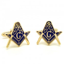Boutons de Manchette Franc-maçonnerie Doré à l'Or Fin Bleu