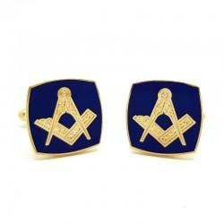 Boutons de Manchette Franc-maçonnerie Doré à l'Or Fin Bleu Carré