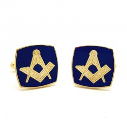 Boutons de Manchette Franc-maçonnerie Doré à l'Or Fin Bleu Carré bobijoo