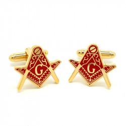 BM0005 BOBIJOO Jewelry Manschettenknöpfe freimaurer, Vergoldet, Gold, Rot