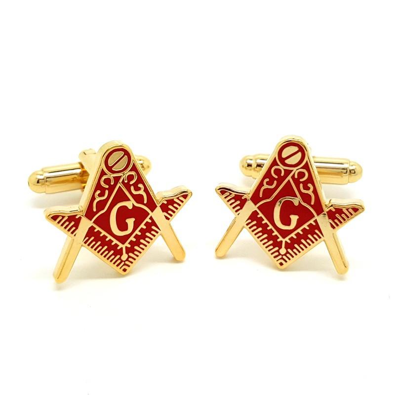 BM0005 BOBIJOO Jewelry Boutons de Manchette Franc-maçonnerie Doré à l'Or Fin Rouge