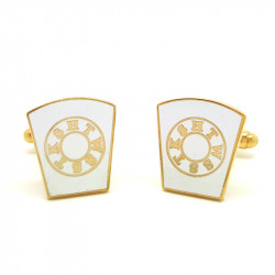 BM0007 BOBIJOO Jewelry Cufflinks freemasonry, Gold and White HTWSSTKS