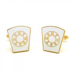 BM0007 BOBIJOO Jewelry Manschettenknöpfe freimaurer, Vergoldet, Gold und Weiß HTWSSTKS