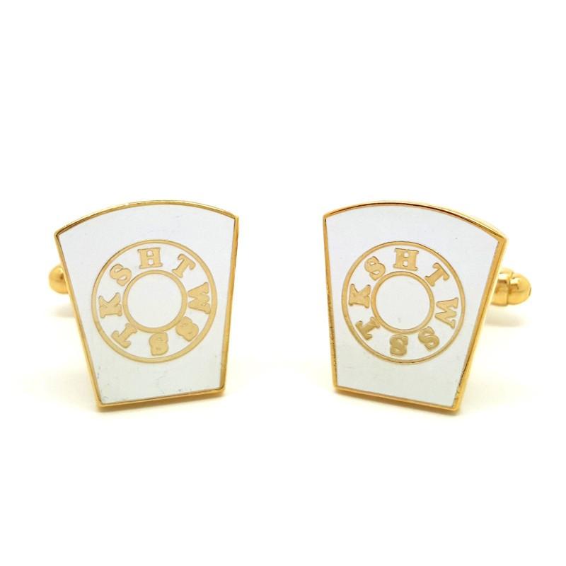 BM0007 BOBIJOO Jewelry Boutons de Manchette Franc-maçonnerie Doré à l'Or Fin et Blanc HTWSSTKS