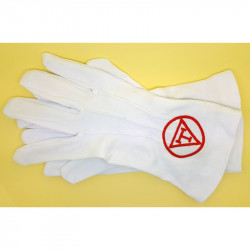 GAN0003 BOBIJOO Jewelry Gloves Freemasonry Embroidered T-Pyramid-Royal Arch Red One Size S M L