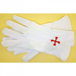 GAN0004 BOBIJOO Jewelry Gloves Freemasonry Embroidered Red Cross Masonic One Size S M L