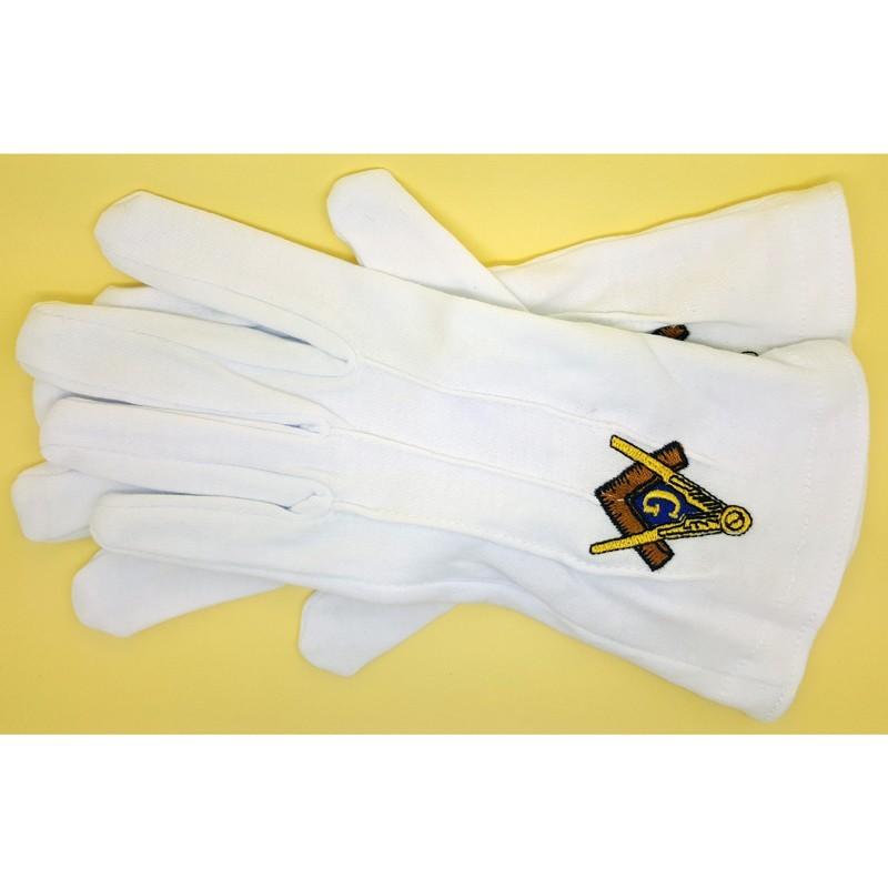 GAN0005 BOBIJOO Jewelry Gloves Freemasonry Embroidered G Masonic One Size S M L