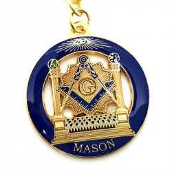 PCL0001 BOBIJOO Jewelry Keyring, Masonic Round LDS Temple Blue