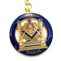 Porte-Clés Masonic Rond LDS Temple Bleu