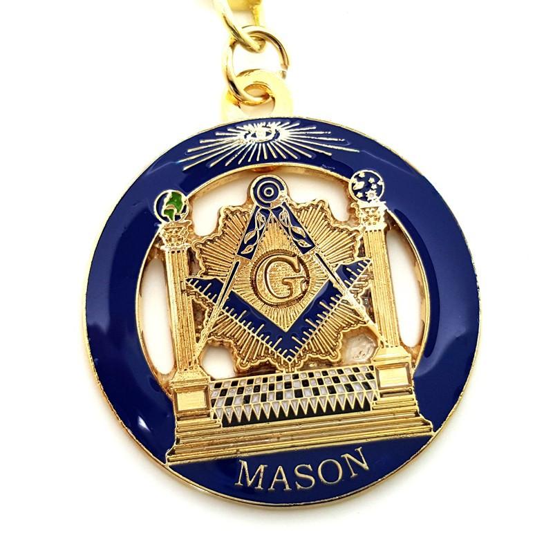 PCL0001 BOBIJOO Jewelry Porte-Clés Masonic Rond LDS Temple Bleu